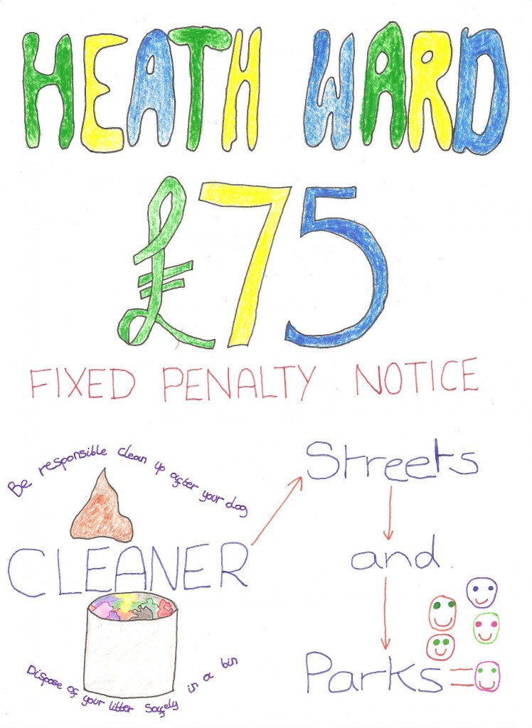 Ages 10 to 12 winning entry of the Heath Big Local Cleaner Streets and Parks Initiative by Nick James