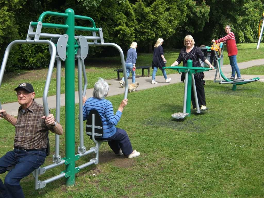 Colin and Sheila Gratton, Janet Dean and Nicola Wood at Bramshall Park on the new gym equipment